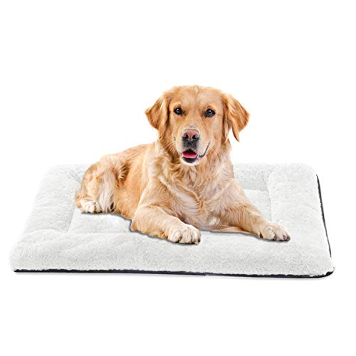INVENHO Dog Bed Mat Comfortable Soft Crate Pad Anti-Slip Machine Washable Pad Dog Crate Pad Pet Bed for Large Dogs & Cats(35x23)
