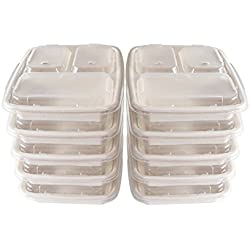 A World Of Deals 3 Compartment Compostable Food Container/Microwave Safe with Lids/Divided Plate/Bento Box, Use for 21 Day Fix, Meal Prep & Portion Control, Black Bottom with Clear Cover, 10 Piece