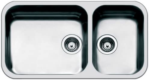 SMEG Doppia Vasca Sottotop UM4530 Dimensioni 45 x 40 cm Colore Inox Serie Alba