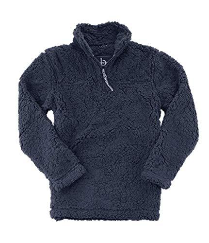 boxercraft Adult Quarter Zip Sherpa Pullover-Navy-XL