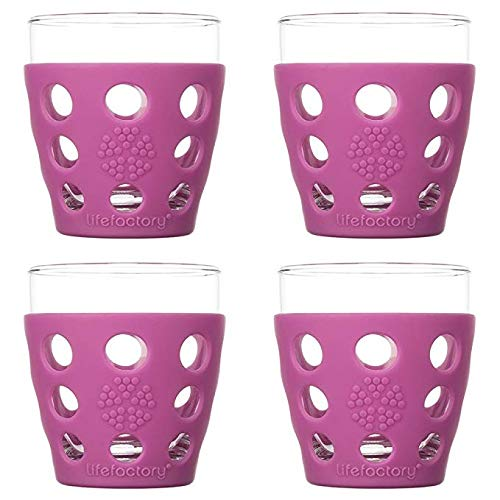 Lifefactory 330143 LF330143C4 10-Ounce BPA-Free Indoor/Outdoor Glassware with Protective Silicone Sleeve, (4-Pack), Huckleberry