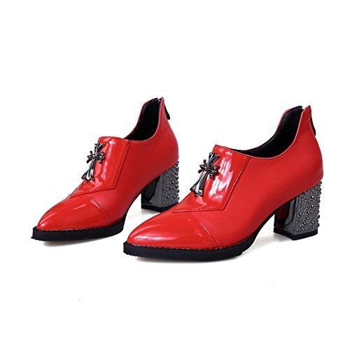 Charm Fot Kvinnor Fjädrar Nya Chica Chunky Klack Boots Röd