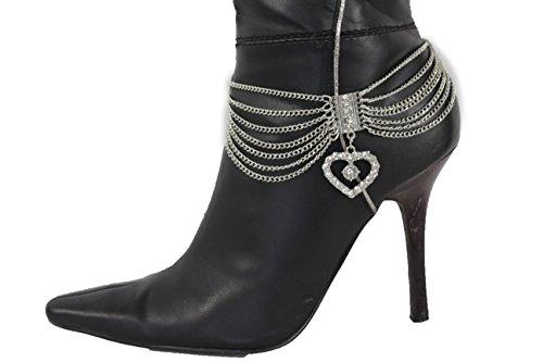 Local Celebrity Halloween Costumes 2016 (TFJ Women Western Boot Bracelet Metal Chain High Heels Shoe Multi Beads Rhinestones Charm Silver)