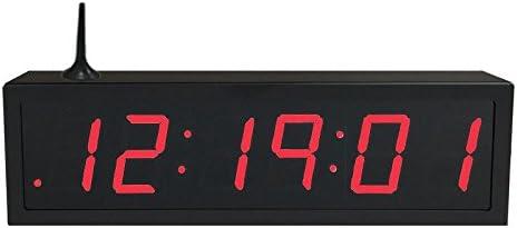 TimeMachines Precision Digital WiFi Clock, 2.5 x 6 Red Digits, Black Case