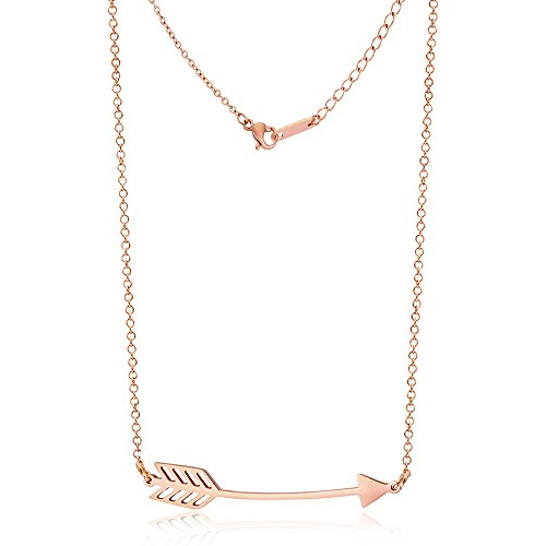Samie Collection Stainless Steel Love Arrow Pendant Necklace in Rose Gold, Rhodium Plating, 16