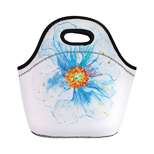 Semtomn Lunch Bags Autumn Blue Watercolor Heavenly Flower Artistic Bouquet Brush Bud Neoprene Lunch Bag Lunchbox Tote Bag Portable Picnic Bag Cooler - Flowers Bouquet Presentation