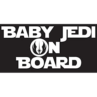 """Baby Jedi on Board Decal Sticker Inspired By Star Wars. Perfect for Back Car Window or on Car Body. 7.25\"""" x 3.25\"""" (White) CMI145: Automotive [5Bkhe0106252]"""