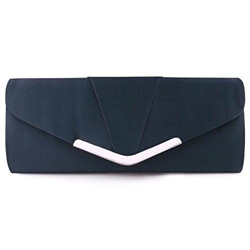 (Womens Satin Clutch Evening Handbag for Party Cocktail Wedding Elegance Envelope Purse Wallet Bag Blue)