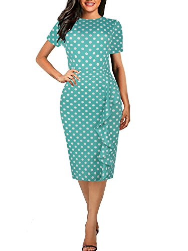 CISMARK Short Sleeve Scoop Neck Work Sheath Pencil Knee-Length Dress Green Dot XXL