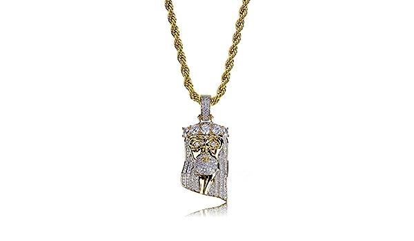 Qiulv Jesús Corona Cadena Collar Religión Colgante Diamante CZ Circón Hip Hop Cadena para Hombres Mujer Moda Joyería Regalo: Amazon.es: Deportes y aire ...