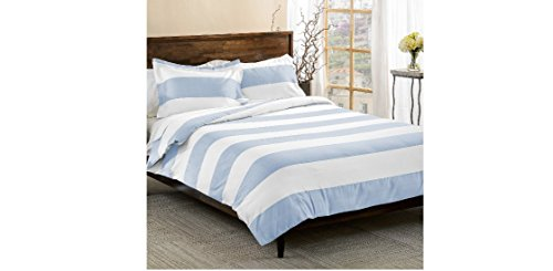 3-Piece-Light-Blue-White-Rugby-Stripes-Duvet-Cover-Full-Queen-Set-Cabana-Striped-Bedding-Hotel-Like-600-Thread-Count-Nautical-Solid-Color-Sports-Themed-Cotton-Polyester-Blend-Sateen-Soft-Button