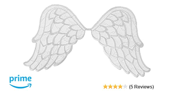 Wrights Especially Baby Iron-on Applique-white Angel Wings