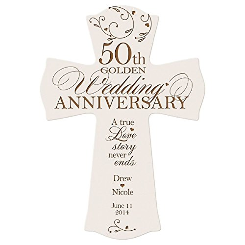 Personalized 50th Wedding Anniversary Wood Wall Cross Gift for Couple 50 year Anniversary Gifts for Her, Anniversary Gifts for Him A True Love Story Never Ends (8.5