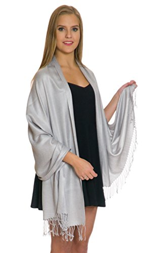 - Pashmina Shawls and Wraps - Large Scarfs for Women - Party Bridal Long Fashion Shawl Wrap with Fringe Petal Rose Light Grey Silver