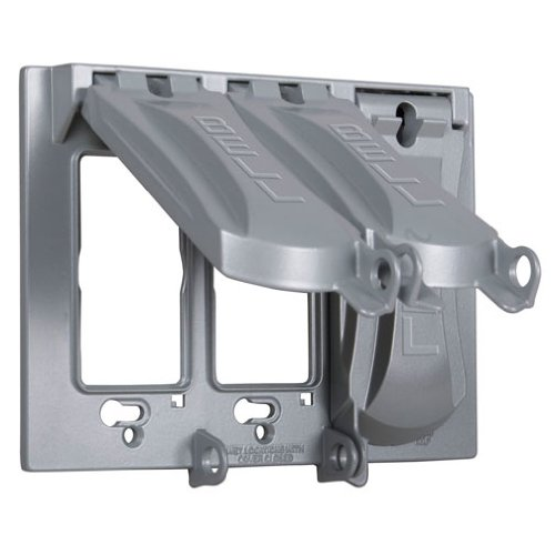 - Hubbell-Bell MX3050S Weatherproof Metallic Device Cover with 125-in-1 Configurations and Three Gang, Vertical, Gray