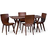 Baxton Studio 5 Piece Elsa Mid-Century Dining Set, Dark Walnut Brown