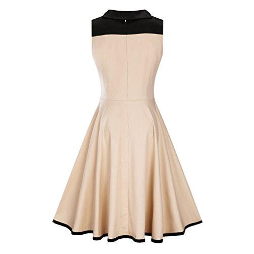 c2b8801b403c ... MILEEO Damen 40s 50s 60s Vintage Kleider Elegantes Knielanges Retro  Kleid Skater Ärmellos Abendkleider Cocktail Party