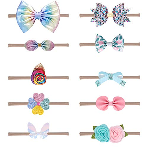 Multicolored Nylon Head Wrap and Chiffon Big Flower HeadBand for Baby Girls (Color series 3)