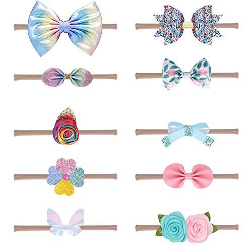 (Multicolored Nylon Head Wrap and Chiffon Big Flower HeadBand for Baby Girls (Color series 3))