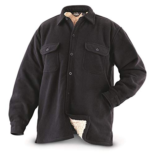 Guide Gear Mens Sherpa Lined Fleece CPO Shirt, Black, M (Sherpa Guide)