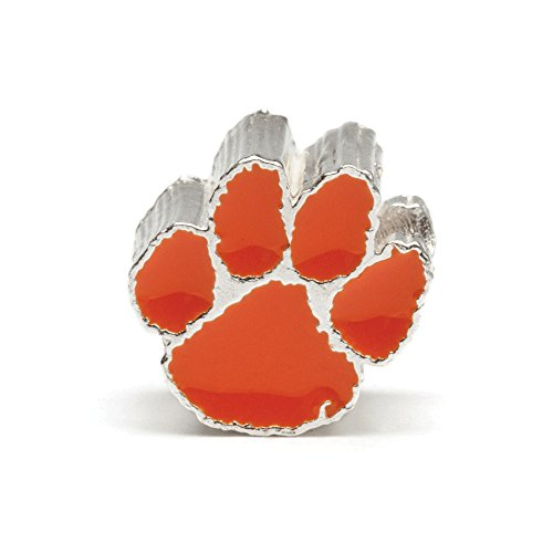 (Clemson University Bead Charm | Stainless Steel Tiger Paw Charm | Officially Licensed by Clemson University | Clemson Gifts | Fits Most Popular Charm Bracelets )