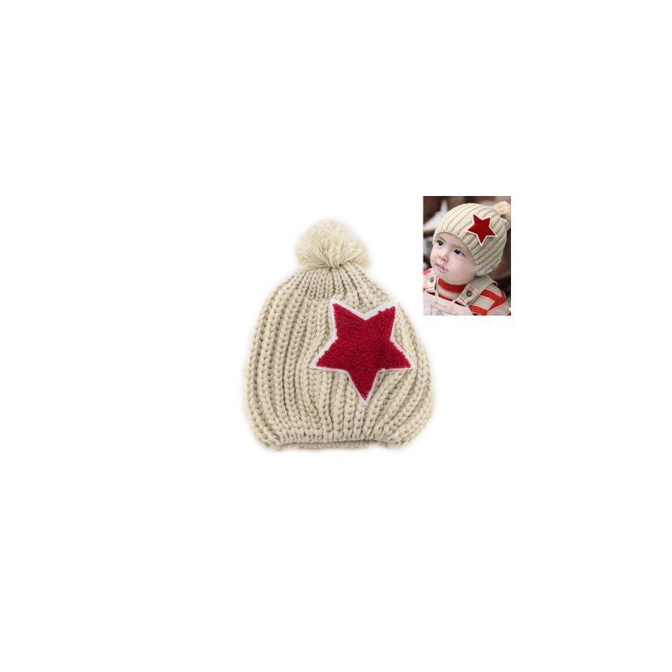 Warm Star Baby Toddler Kid Child Girl Boy Winter Knitted Cap Hat Beanie Beige
