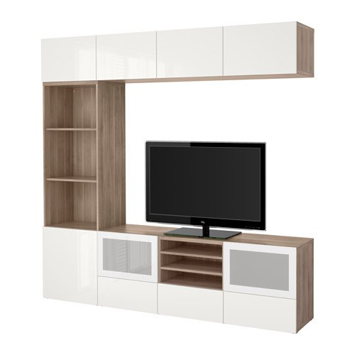 Ikea TV storage combination with push-open drawers and glass doors, walnut effect light gray, Selsviken high gloss/white frosted glass 10202.262020.3010