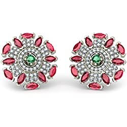 18K White Gold 0.59 cttw Round-Cut-Diamond (IJ | SI) and Emerald and Ruby Stud Earrings