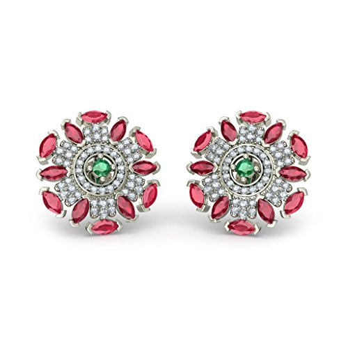18K White Gold (HallMarked) 0.59 cttw Round-Cut-Diamond (IJ | SI) and Emerald and Ruby Stud Earrings by PEACOCK JEWELS