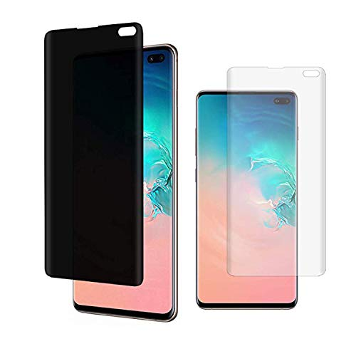(2 Pack) Cuupee Galaxy S10 Plus Privacy Screen Protector, Soft TPU Material [Support Ultrasonic Fingerprint] Anti-Spy Film for Samsung Galaxy S10+ 6.4-inch (Black)