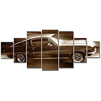 Startonight Huge Canvas Wall Art Ford Mustang In Full Speed Brown Auto Usa Large Home Decor Dual View Surprise Artwork Modern Framed Wall Art Set Of 7
