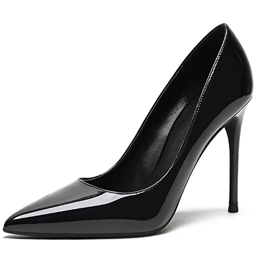 Eldof Womens Pointed Toe Pumps High Heel Stilettos Classic Slip On 4
