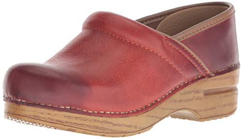 Dansko Women's Professional Clog, Coral Waxy Burnished, 37 M EU (6.5-7 US)