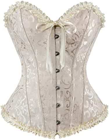 2cf2a3e2445 Women Lace Corsets Sexy Bustiers Overbust Gothic Strapless Brocade Corselet Clothing  Waist Shapers