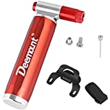 DEEMOUNT Bike Pump Bicycle CO2 Inflator with Cartridge Storage Canister for Presta and Schrader - Bicycle Tire Pump for Road and Mountain Bikes Basketball Football - No CO2 Cartridges Included