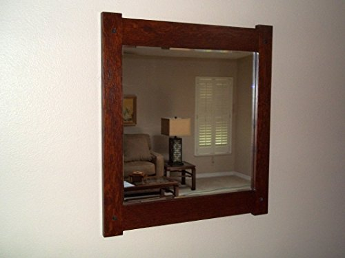 """Quartersawn White Oak Mirror Arts and Crafts Mission Craftsmen Style overall 19"""" X 21"""" Handcrafted/Handmade from Augie's Woodworking"""