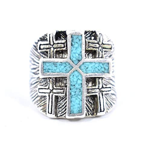 Nemesis Jewelry NYC Vintage Large Blue Southwestern Inlay Cross Men's Ring from Nemesis Jewelry NYC