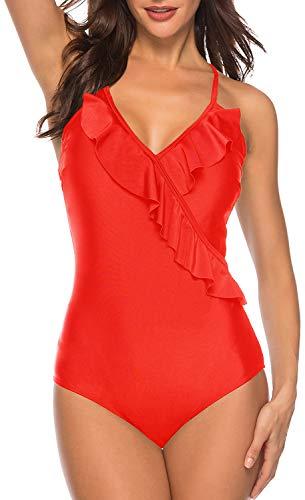 Amourri Women's Crisscross Back One Piece Swimsuit Flounce Ruffled Bathing Suit Monokini Red (Couture Women Swimwear One Piece)