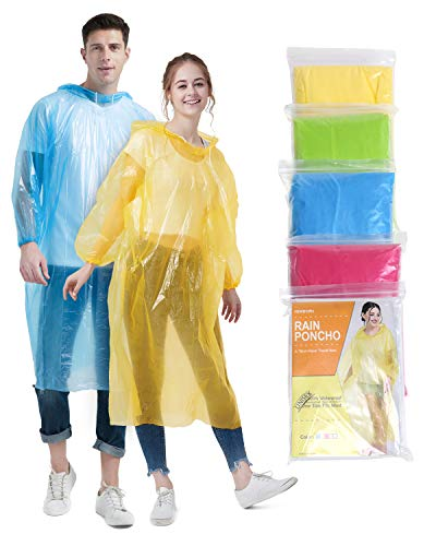 Newbyinn Disposable Rain Ponchos for Adults Assorted Colors, 5 Pack