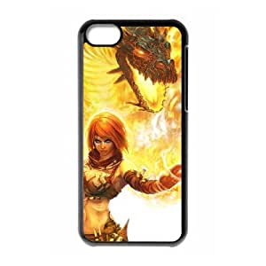 (QZIW) iPhone 5c Cell Phone Case Covers Black Beast On Fire