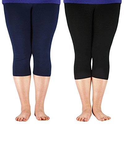 Zando Women's Lightweight Breathable Soft Stretchy Leggings 3/4 Length Plus Size Crop Bamboo Fibre Basic Capri Pants 2 Pairs Navy Black 2XL (US M)