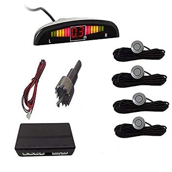 Rojo Nrpfell Parktronic De Coche Sensor De Aparcamiento Led De Coche con 4 Sensores Pantalla del Sistema Detector De Monitor De Radar De Aparcamiento De Reserva Inversa