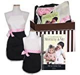 Mommy and Me Matching Boutique Cooking Apron and Cookbook Gift Set