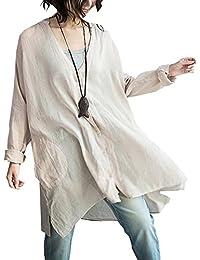 LifeShe Women's Linen Cotton Buttons-down Long Sleeve V-neck Shirts Dress