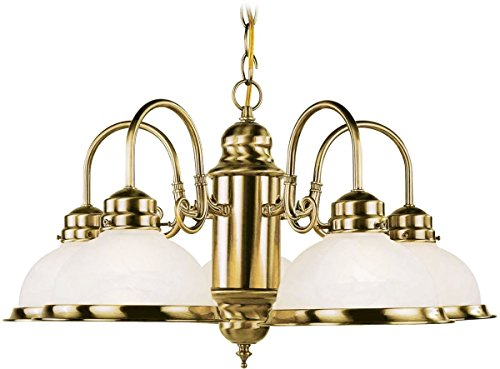 Livex Lighting 8105-01 Chandelier with White Alabaster Glass Shades, Antique Brass