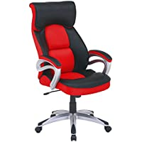 High Back Desk Chair Executive Swiivel Red PU Leather Office Chair and Mesh Bucket Seat with Padded Flip-Up Arms