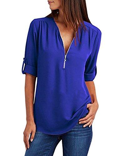 Uni Lueyifs Bleu Femme Chemisier Fonc 5q6R67w