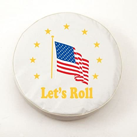 E10-30 x 10 Inch HBS American Flag Lets Roll Tire Cover on Blue Vinyl Size