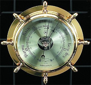 Bey-Berk SB402 Lacquered Brass Ship's Wheel Barometer with Beveled Glass. Grey