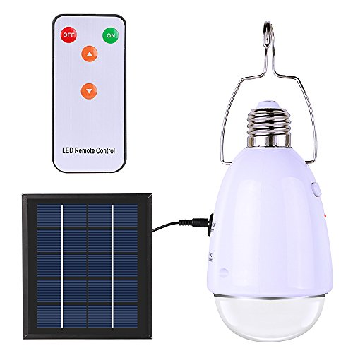 ELlight Portable LED Solar Lights with Hook, Remote Control Dimmable E27 Indoor Solar Lamp for Chicken Coop Shed Camping Tent Power Outage Home - Solar Lamps Plastic